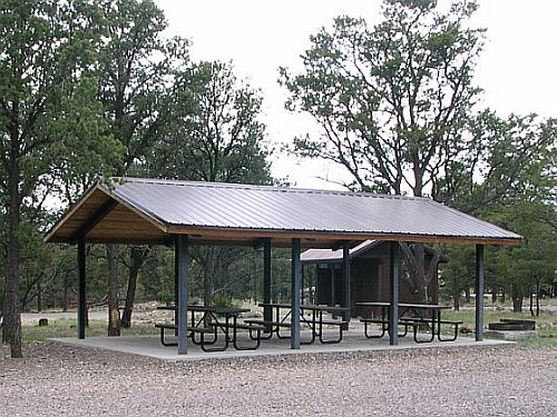 Group area picnic shelter at Pinon Campground