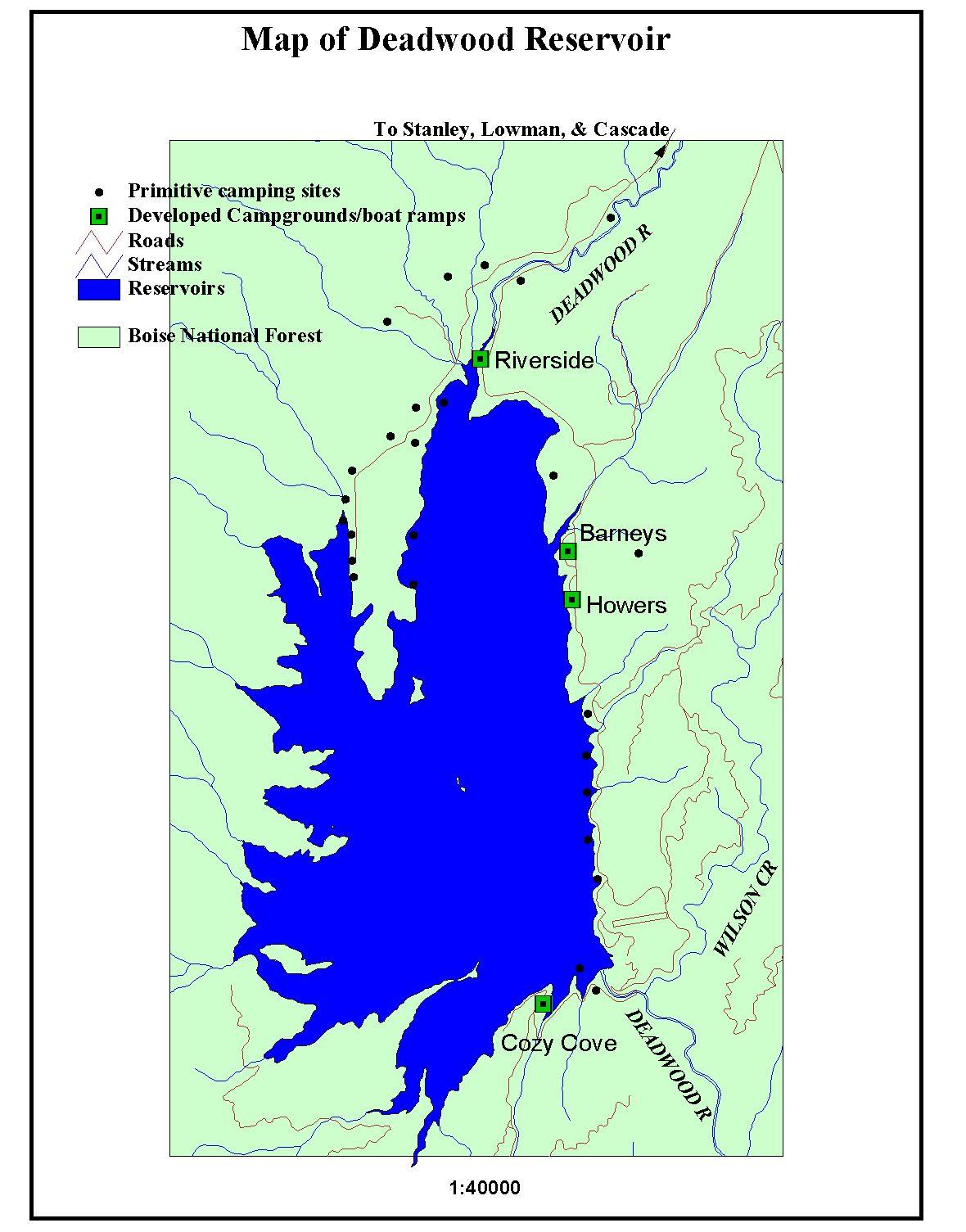 lowman reservoirlakes fishing map. boise national forest  learning center