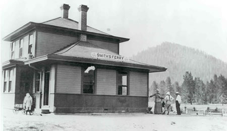 The Idaho Northern Railroad's train depot at Smith's Ferry