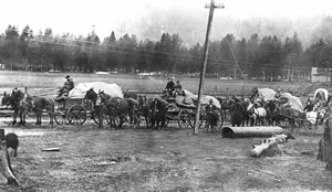 Wagon train near Smith's Ferry