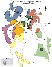 This is a map of all Beaverhead-Deerlodge National Forest districts color-coded.