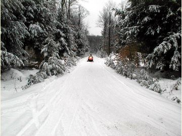 Snowmobile on the Allegheny Snowmobile loop trail (ASL)