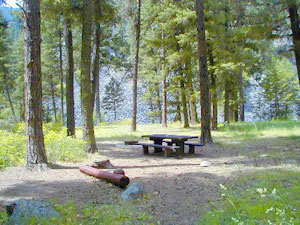 Photo of a campsite with a picnic table.