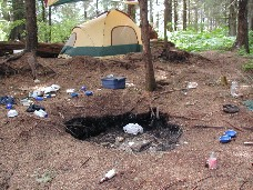 trashed campground