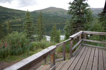 a view from the deck of juneau lake cabin