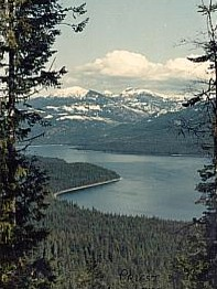 Photo of scenic Priest Lake with Selkirk Mountains in the background