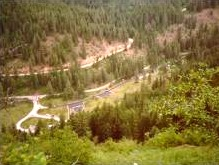 Photo of Beauty Creek Campground from an adjacent hillside.
