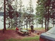 Photo of a campsite at Bell Bay overlooking Lake Coeur d'Alene