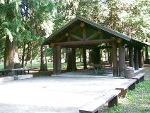 Photo of one of the covered kitchens at Shoshone Park.