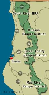[Graphic]: Depicts the Six Rivers National Forest and Ranger District Boundaries.