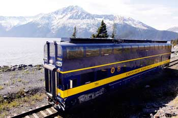 The DMU traveling along Turnagain Arm