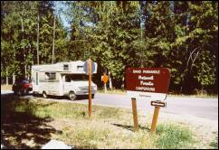 Photo of an RV entering Sam Owen Campground, the largest campground on the IPNF