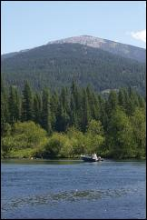 Photo of Lookout Mountain from the thorofare which connects Upper Priest Lake to Priest Lake and provides access to Upper Priest Lake campgrounds.