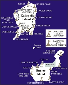 Map of campsites on Bartoo and Kalispell Islands