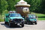 Forest Service fire truck, off-road fire suppression vehicle and Smokey balloon