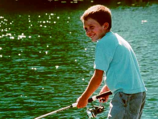 Photo of a boy fishing