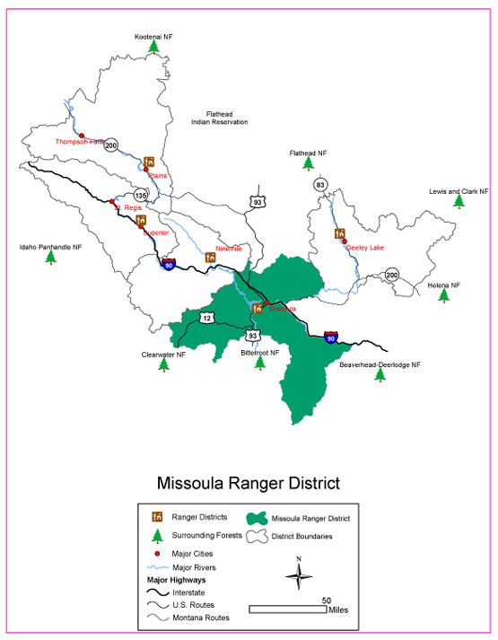 Map of the ranger district