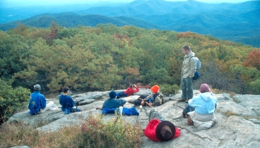 AT at Blood Mountain. Group of friends atop Blood Mounatin on the Appalachian trail.