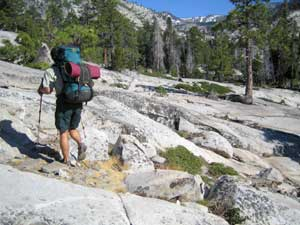 [Photo]:  Off-trail hiking into Desolation Wilderness.