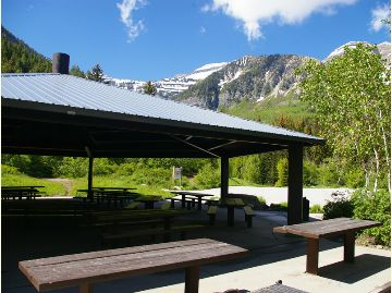 Photo of the picnic pavilion with picnic tables at the Altamont Group Campground.