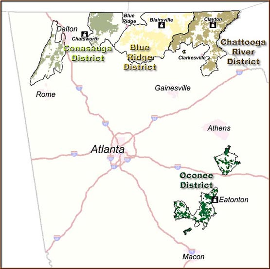 Map Of Georgia With Major Cities.Chattahoochee Oconee National Forests Districts