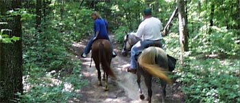 Photo of two people riding horseback on a forest trail.