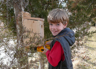 boy hangs bluebird nest box - photo by Dan Dey