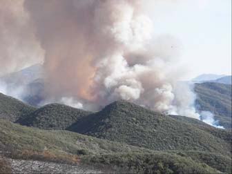 [Photograph]: Large column of smoke billowing within the mountains in the prescribed burn.