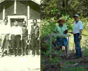 Left: Adam Lambert, with fellow loggers. Right: His grandchildren at archaeology site.