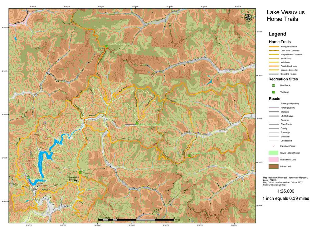 Wayne National Forest Lake Vesuvius Horseback Riding System - Vesuvius map