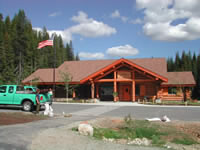 Photograph of the Lolo Visitor Pass Visitor Center in the summer.