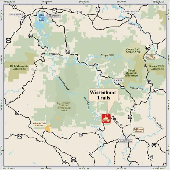 ChattahoocheeOconee National Forests Whissenhunt OHV Trails - Georgia map dahlonega