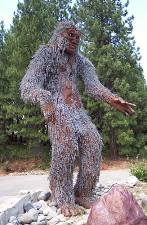 Metal statue of Bigfoot stands 15 feet tall in Happy Camp