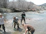 Students collecting specimans from the river with goldfish nets.
