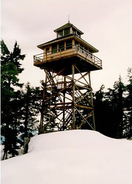 Warner Mountain Lookout in winter
