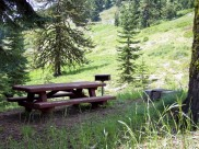 Table and stove at the Mt Ashland Campground