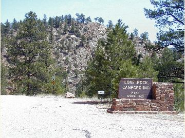 The sign for Lone Rock Campground.