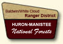 Clip Art Image of a portal sign for the Baldwin/White Cloud Ranger District
