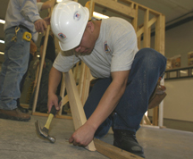 Job Corps student constructs a home