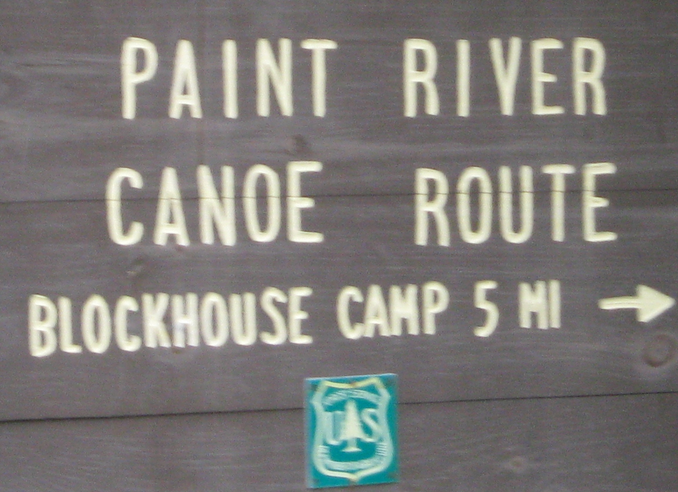 Sign for Canoe Putin at Paint River CG