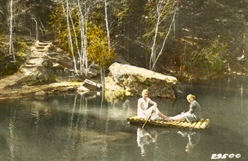 Old photo two women rafting