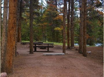 Photo taken from the parking area in a camp site with picnic tables.