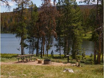 Photo of a camp site with a picnic table, fire ring and a grill stand next to the lake.