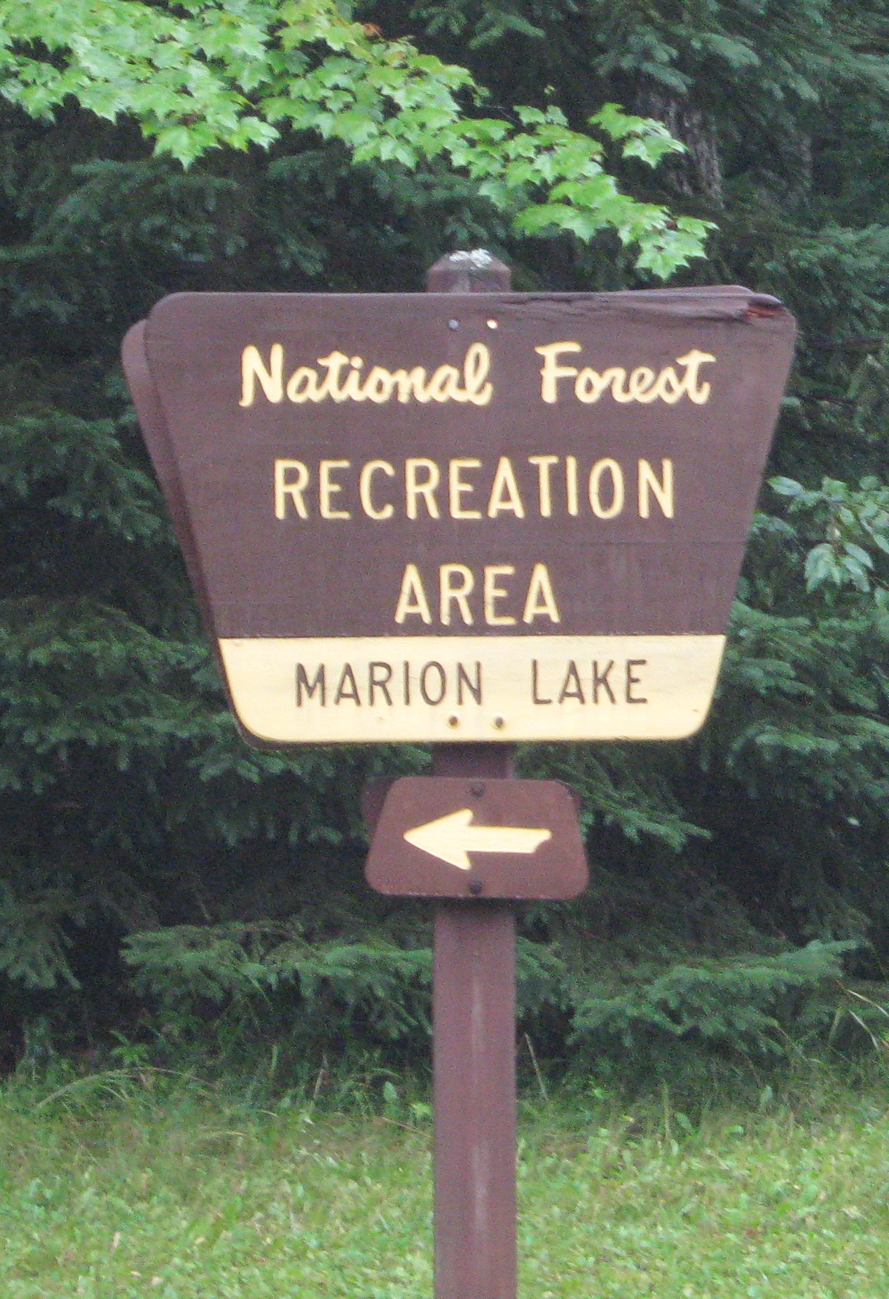 Sign for Marion Lake