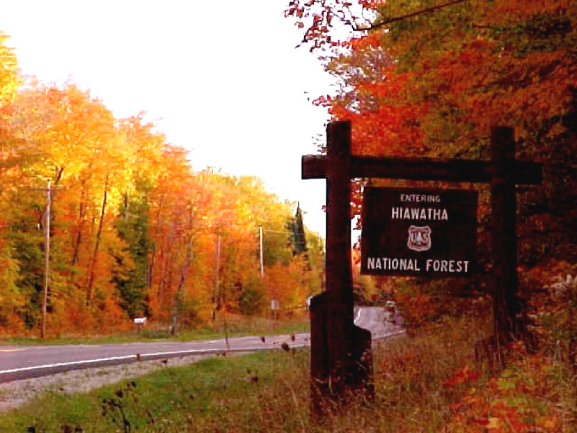 Entering Hiawatha sign on M123 during Fall Color
