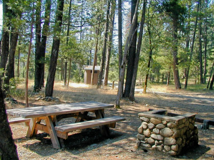 Shaded camping site at Idlewild Campground