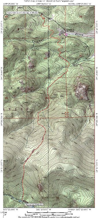 Topographic map for Rolling Creek Trail