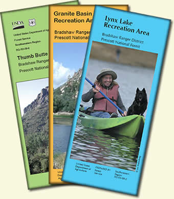 Front Cover of Thumb Butte, Granite Basin, and Lynx Lake Recreation Area Brochures