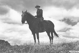 Photo of Elers Koch on a horse.