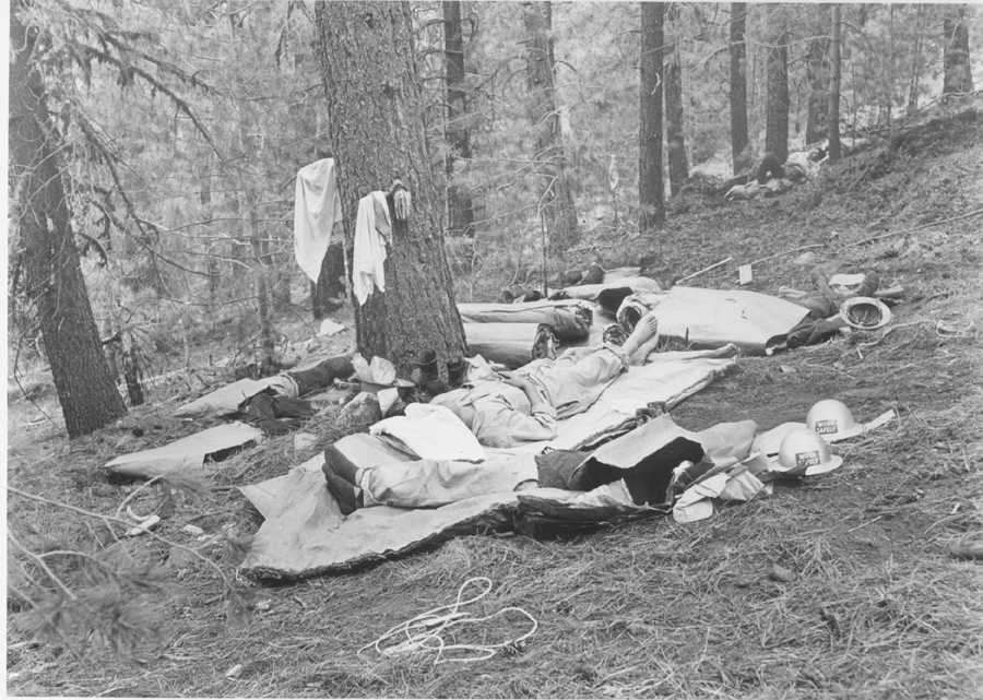 Fire Camp, Men Sleeping, 1956